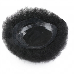 Human Hair Afro Curl Toupee for Black Men 9.5x7.5inch Mono Base with Hard PU Reforced Toupee for Black Men