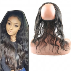 Body Wave Human Hair 360 Lace Frontal With Adjustable Straps Baby Hair All Around Pre Plucked