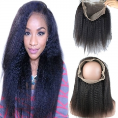 New Style 8A Grade 360 Full Lace Frontal Band Closure 22.5x4x2inch brizalian Virgin hair Kinky Straight 360 Degrees Closure