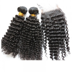 Free Shipping Mongolian Kinky Curly Hair Bundle With Closure Silk Based 4x4inch Human Hair Silk Base Closure With Bundle