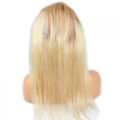 360 Lace Frontal Blonde #613 Silk Straight Brazilian Virgin Remy Human Hair Lace Band Frontal Closure Natural Hairline Bleached Knots with Baby Hair