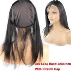 New Style 8A Grade 360 Lace Band 22X4inch With Stretch Cap 13X4 Lace Frontal Closure Brazilian Virgin Hair Straight InStock