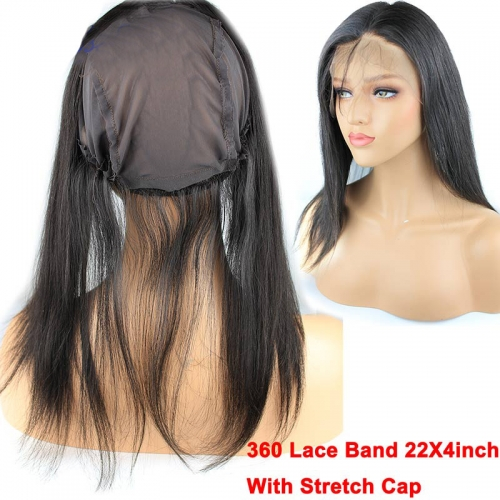 8A Grade 360 Lace Band 22X4inch With Stretch Cap 13X4 Lace Frontal Closure Brazilian Virgin Hair Straight InStock
