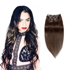 120g 10pcs Black Clip In Hair Extensions Silky Straight Brown Color Brazilian Human Hair