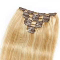 100g 7pcs Clip In Human Hair Extension Silky Straight Virgin Hair Highlight Color