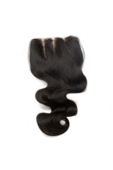 Unprocessed Body Wave Indian Human Hair 4x4 Lace Closure Natural Color