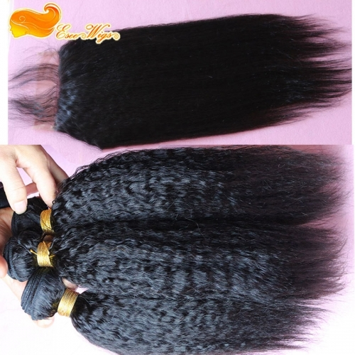 Kinky Straight 3 Bundles With 5x5 Lace Closure Brazalian Virdin Human Hair