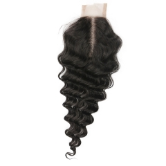 2X4 inch Lace Closure 100% Human Hair Virgin Brazilian Deep Wave Lace Closure Density 120% Natural Color 30 days ship