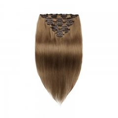 70g 7pcs Clip In Human Hair Extensions Silky Straight Brazalian Virgin Hair 8# Color