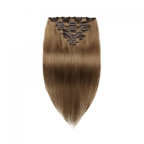 Brown 70g Clip in Brazilian Hair Extensions for Sale Red Straight 7pcs Human Hair