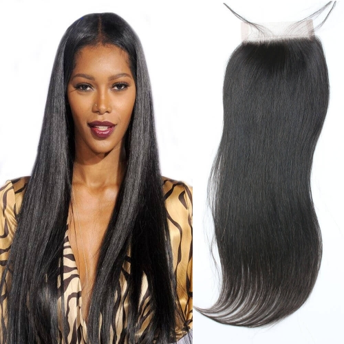 Cheap Brazilian Light Yaki Lace Closure Permed Yaki Coarse Yaki Closure Virgin Human Hair Closure With Part Swiss Lace Bleached Knots