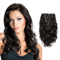 160g 10pcs Clip in Real Hair Extension Body Wave Hair Natural Color