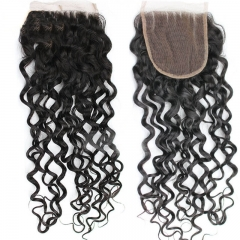 Virgin Malaysia Deep Curly Hair Budles With Closure 4X4 Bleached Knots Bundles With Closure Human Hair