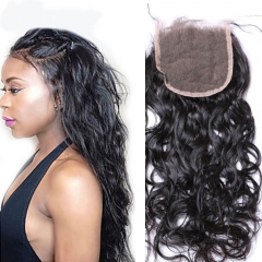 7A Wet and Wavy Closure Lace Closure Virgin Brazilian Human Hair Bleached Knots Free MIddle 3 Part 4*4 120% density natural color