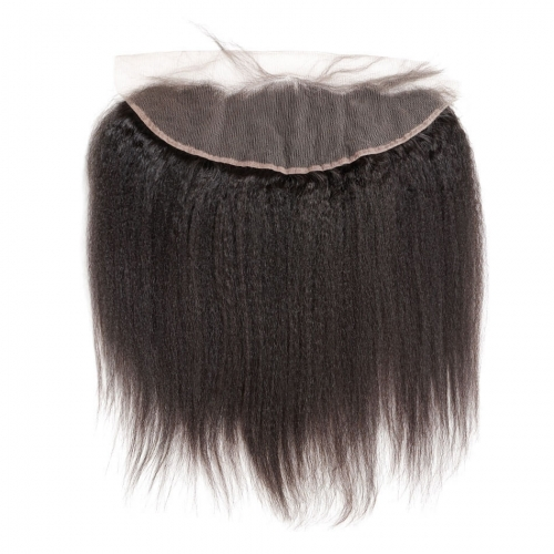 Kinky Straight Lace Frontal Closure Brazilian Lace Frontals Coarse Yaki Ear To Ear 13x4 Full Frontal Closure With Baby Hair