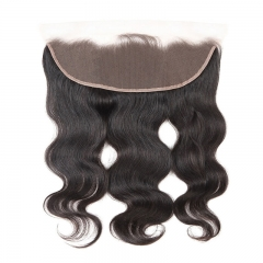 13X4 Body Wave Lace Frontal Closure With Bleached Knots 7A Grade 100% Brazilian Virgin Hair Natural color in stock