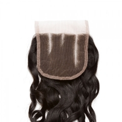 Mongolian Hair Wet Water Wave Three Part 4x4 Lace Closure Natural Color