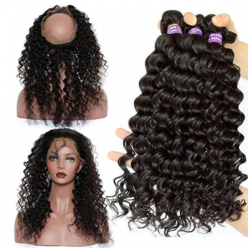 360 Lace Frontal Closure With 3 Bundles Deep Wave Brazilian Virgin Hair 360 Lace Band with Cap