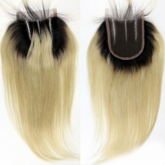 Blonde Lace Closure Straight 1b 613 Color Ombre Lace Closure 4x4 inch Virgin Peruvian Hair
