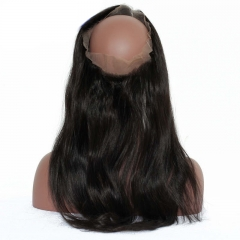 Silk Straight 360 Lace Frontal Closure Pre Plucked Brazilian Virgin Hair Lace Frontal 22.5*4*2