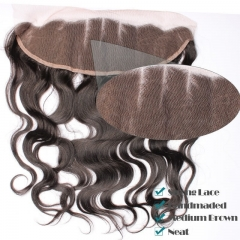 Natural Color Body Wave Indian Remy Hair Lace Frontal Closure 13x4inchs