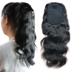 Ponytail Wrap Hair Extension Natural Black Hair Clip In ponytail  7A Brazilian Virgin Hair Long Body Wave