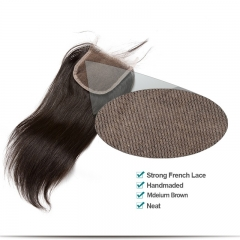 Mongolian Hair Silky Straight Free Part Lace Closure 4x4 Natural Color