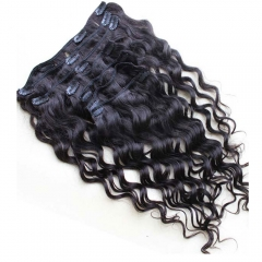 Kinky Curly Weave Clip In Human Hair Extension Natural Color Full Head
