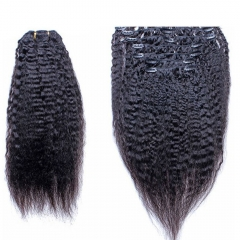 Clip In Human Hair Extensions Kinky Straight Mongolian Virgin Hair Natural Color