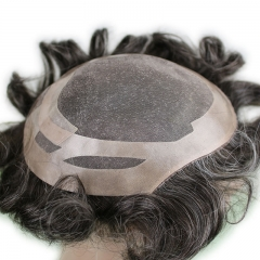 Men's Hairpiece Human Hair Toupee Wig 10x8 Full Head Real Human Hair