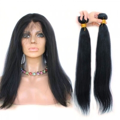Brazilian Virgin Hair Yaki Straight 360 Lace Frontal Band Natural Hairline With Two Bundles