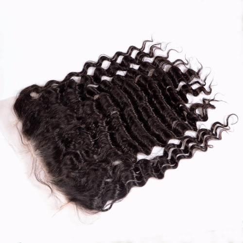 Lace Frontal Closure 13X6 Human Hair Peruvian Virgin Hair loose deep wave Natural color density 130% Bleached knots