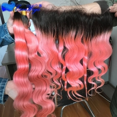 1BTPink Real Human Hair 3 Bundles with Lace Frontal Closure Body Wave Ombre Human Hair