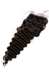 European Virgin Hair Deep Wave Free Part Lace Closure 4x4inches Natural Color