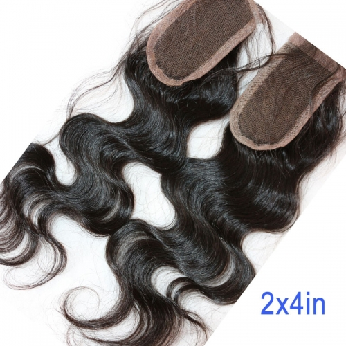 2X4 inch Lace Closure 100% Human Hair Virgin Peruvian Hair Closure Body Wave Density 120% Natural Color 30 days ship