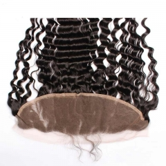 Natural Color Deep Wave Brazalian Virgin Hair Lace Frontal Closure 13x4inchs