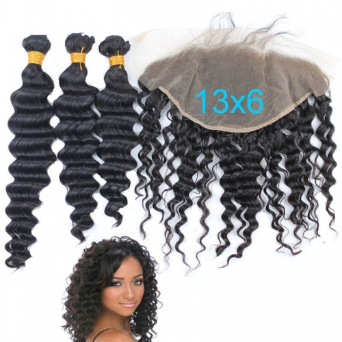 7A Deep Wave Virgin Brazilian Hair 3 Bundles Human Hair With closure 13X6 Ear To Ear Lace Frontal Closure With Bundles