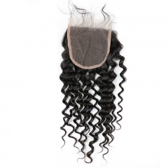 100 Human Hair Virgin Brazilian Lace Closure Deep Curly 4*4  Inch Natural Color Density 120% In Stock