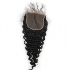 Cheap Virgin Brazilian Deep Wave 5X5 Closure 100 Human Hair Free MIiddle 3 Part Deep Wave Swiss Lace Closure Bleached Knots