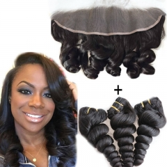 7A Brazilian Hair With Frontal Closure 3 Bundles With Frontal 13X4 Ear To Ear Lace Frontal Closure With Bundles Loose Wave
