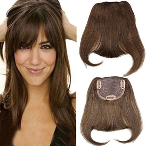 Human Hair Bangs 100% brazilian Virgin Hair Straight Clip in Bangs Machine Weft with Combs Natural Color