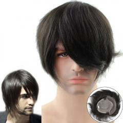100% Human Hair Swiss Lace Men's Toupee Mono base with PU all around Natural Black Color Hair Toupee Men's Wigs Base size20X23CM