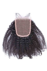European Virgin Hair Afro Kinky Curly Three Part Lace Closure 4X4 inchs Natural Color