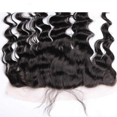 Natural Color Loose Wave Indian Remy Hair Lace Frontal Closure 13x4inchs