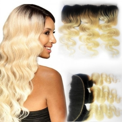 Ombre 13X4 Lace Frontal 1b/613# Ombre Blonde Hand Made Ear to Ear Body Wave Lace Frontal Hair Extension Bleached Knots with Baby Hair