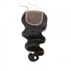 Natural Color Body Wave Peruvian Virgin Hair Three Part Lace Closure 4x4inches