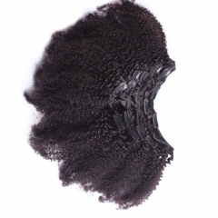 Afro Kinky Curly Brazilian Hair Clip In Human Hair Extensions Natural Color