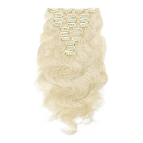 120g 10 pcs Body Wave Hair Clip in Virgin Human Hair Extension 60# 613# Blonde Color