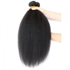 Brazilian Human Hair 3 Bundles with Lace Closure Kinky Straight Natural Color