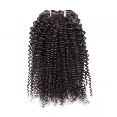 100g 7pcs Clip in Human Hair Extension Kinky Curly Natural Color Brazilian Human Hair